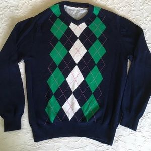AMERICAN EAGLE Navy Green Argyle Sweater Mens L